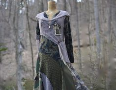 Lagenlook steampunk Dress patchwork Military style by amberstudios