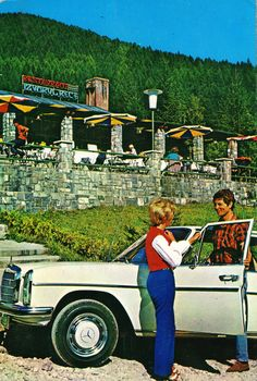 "Romania - Sinaia [004] - 1974 - front | RetROmania #89  1974 postcard from Romania, Sinaia, featuring a beautiful MERCEDES-BENZ W114/115 ""Strich-Acht"" Romanian People, Time Travel, Postcards, Mercedes Benz, Freedom, Photos, Pictures, Paintings, Graphics"