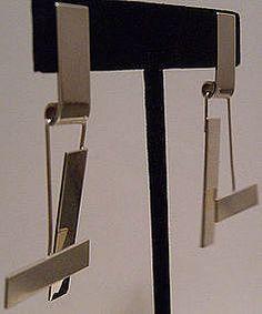Betty Cooke Modernist Silver Geometric Kinetic Earrings