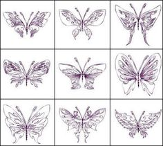 """""""Tribal Butterflies"""" includes 12  fascinating butterflies in several hoop sizes, making this set versatile  for coordinating many projects. Get different looks by stitching with  variegated, glow in the dark or even solar threads! Flutter over to see!"""