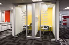 Hotel stations, team project areas, alcove talk and think areas were created to encourage both private and shared thinking and brainstorming. The new workspaces are meant to enhance communication and collaboration.