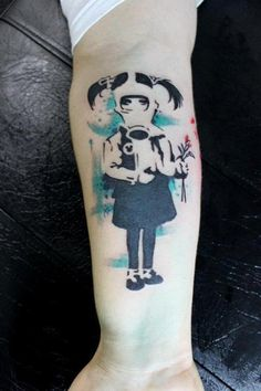 Banksy Masked Girl Tattoo is a part of Banksy Tattoos gallery, and If you like this image you should look at some more tattoo designs and ideas Bad Tattoos, Time Tattoos, Sleeve Tattoos, Cool Tattoos, Tatoos, Amazing Tattoos, Tattoo Girls, Pin Up Girl Tattoo, Banksy Graffiti