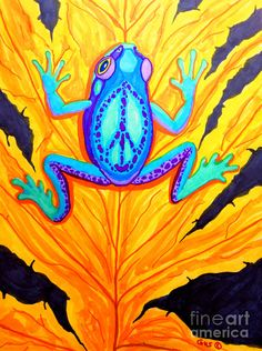 Peace Frog on Fall Leaf Drawing by Nick Gustafson - Peace Frog on Fall Leaf Fine Art Prints and Posters for Sale Frog Drawing, Leaf Drawing, Learn Watercolor Painting, Rock Painting, Fall Leaves Drawing, Peace Poster, Frog Illustration, Frog Tattoos, Hippie Peace