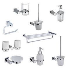 glass square bathroom accessories set chrome finish