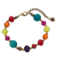 Buy One Button Bright Bead Bracelet, Multi Online at johnlewis.com