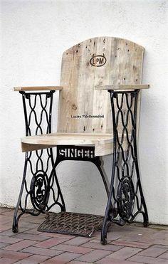 Cadeira feita com máquina de costura quebra e paletes