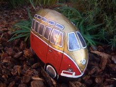 Two toned Red and Gold VW Volkswagen Bus Painted River Rock