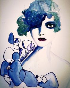 Fashionsketch #watercolo #fashionillustration#portrait by maryamparsa