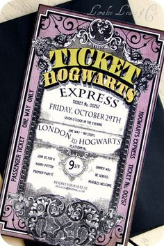 Birthday or Halloween invitation for Hogwarts Express. Probably better to do a Hogwarts Letter though. http://www.planetgoldilocks.com/halloween/sweepstakescontest.html