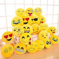 Yellow Round Cushion Soft Emoji Smiley Emoticon Stuffed Plush Toy Pillow Doll  | eBay