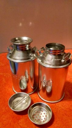 Cream can salt and pepper shakers
