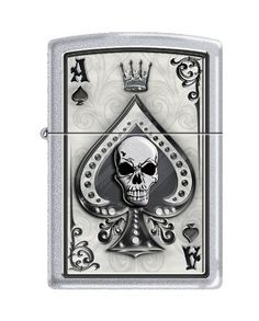 Zippo Lighter Ace Skull Card Satin Chrome ** Visit the image link more details.(This is an Amazon affiliate link)