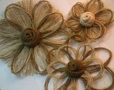 Yellow Burlap Flowers with Brown Button Center  Set of 12