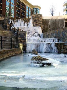Icy Falls in downtown Greenville South Carolina 2010-01-10 002 by alexdresko, via Flickr
