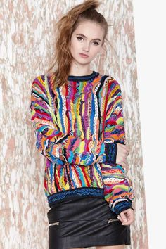 Big Poppa Coogi Sweater   Nasty Gal   This is just so obnoxiously loud that I kinda love it