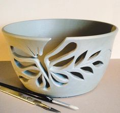 Unfired yarn bowl with a Butterfly and leaves cutout yarn feed earthwoolfiregma click now for info. Pottery Tools, Pottery Classes, Slab Pottery, Ceramic Pottery, Ceramic Techniques, Pottery Techniques, Biscuit, Advanced Ceramics, Clay Bowl