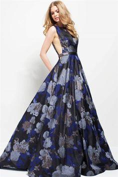 da9522b94fb Jovani Evenings 49898 Navy Print Backless High Neck A-Line Gown 49898