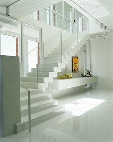 Image detail for -Glass staircase White Apartment Interior Design Ideas – Home . Loft Interior Design, Interior Stairs, Interior Architecture, Interior Decorating, Loft Design, Luxury Interior, Glass Stairs, Floating Stairs, Glass Railing