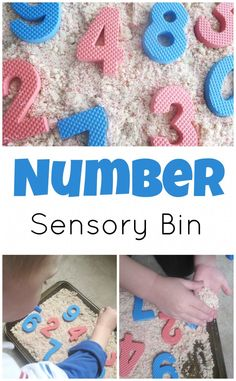 Number Recognition Sensory Bin. Great hands-on way to interact with math!