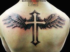 Black & Grey Tattoo  Crucifix  Wings