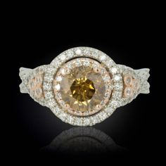 Chocolate and White Diamond Twisted Shank Two Tone Gold Ring - LS1126