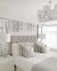 Bedroom Color Inspiration Ideas Gallery - Interior Design Ideas & Home Decoratin. Bedroom Color Inspiration Ideas Gallery - Interior Design Ideas & Home Decorating Inspiration - moercar Master Bedroom Design, Dream Bedroom, Home Decor Bedroom, Silver Bedroom Decor, Bedroom Designs, Silver And Grey Bedroom, Bedroom Inspo Grey, Master Bedrooms, Bedroom Inspiration