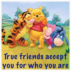 True friends accept you for who you are Winnie the Pooh Tigger Piglet Eeyore Eyore