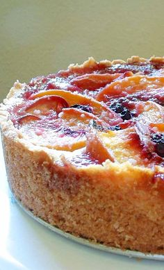 Peach Blueberry Cake ~ Elegant peach and blueberry cake with a rich, buttery, biscuit-like crust. ~ SimplyRecipes.com