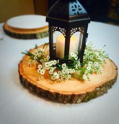 These wood centerpieces are perfect for rustic wedding decor at any rustic wedding or shower!