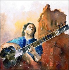 Sitar player with Arcos de la Frontera in the background - watercolour for project Indialucia