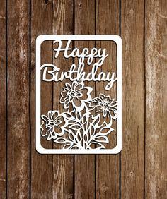 Papercut card, Birthday template,Paper Cutting Template, PDF, SVG cutting file, DIY birthday card, pt-010