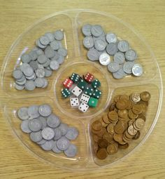 Organize coins in chip and dip tray from The Dollar Store. Great for intervention and enrichment activities and games practicing identifying coins, adding coins, and making change. Enrichment Activities, Educational Activities For Kids, Math For Kids, Fun Math, Identifying Coins, Learning Money, Dip Tray, Math Coach, Money Games