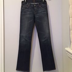 Seven brand boot leg jeans in medium/dark wash Seven for all mankind boot leg jeans in medium/dark wash, size 25.  Slight stretch/elastic to the denim.  Very comfortable and In great condition, barely worn! 7 for all Mankind Jeans Boot Cut