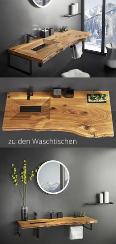 Wooden washstand Bathroom Inspiration - Modern wood details in the bathroom. You can find more wooden washbasins here: www. Bad Inspiration, Bathroom Inspiration, Wood Bathroom, Bathroom Interior, Bathroom Storage, Wood Detail, Interior Decorating, Interior Design, Home Accessories