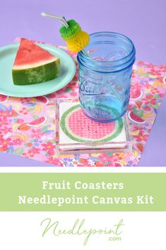 We are loving this summery Fruit Coaster Kit from Burnett & Bradley. The kit includes stitch guides by Jinny Barney and threads. Needlepoint Designs, Needlepoint Kits, Needlepoint Canvases, Coasters, Hand Painted, Stitch, Fruit, Full Stop, Coaster