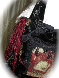 Black Velvet Handbag bohemian bag boho purse velvet by GrandmaDede