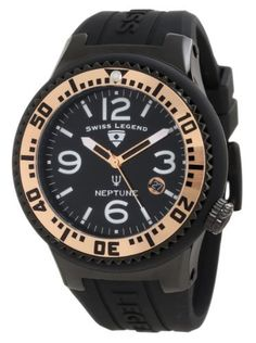 Swiss Legend Men's 21848P-BB-01-RA Neptune Black Dial Black Silicone Watch Swiss Legend. Save 67 Off!. $129.99. Water-resistant to 100 M (330 feet). Black dial with rose gold tone and white hands, white hour markers and arabic numerals; luminous; unidirectional black ion-plated stainless steel bezel with rose gold tone ring and black arabic numerals; screw-down crown. Date function at 4:00. Swiss quartz movement. Mineral crystal with sapphire coating; black ion-plated stainless steel case…