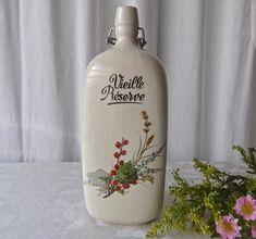 Vintage Stoneware Decanter Liquor Bottle Three Sided France Vieille Réserve