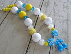 Beaded chunky little girls necklace boutique necklace with cherry pendant in blue, yellow and white