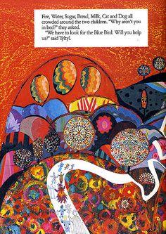 Brian Wildsmith's Illustrations for 'Blue Bird' - Book Artists and Their Illustrations Old Children's Books, Nostalgic Art, Bird Book, Vides, Art Base, Fashion Painting, Children's Book Illustration, Blue Bird, Art Drawings