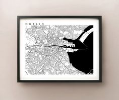 Dublin Map  Black and White Wall Art  Ireland Art by CartoCreative, $20.00