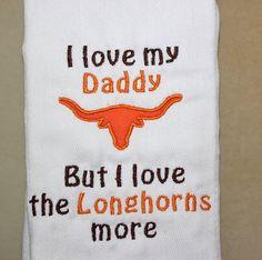 Texas Longhorns Burp Cloth - UT Baby Gift Texas burp cloth via Etsy