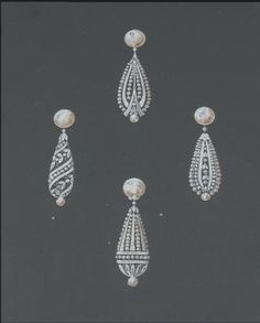 Belle Epoque gouache designs for pearl and diamond earrings.