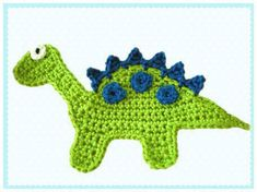 Dinosaur applique -- site is in German, so I can't tell if the item or pattern is being sold -- inspiration only Appliques Au Crochet, Crochet Applique Patterns Free, Crochet Motifs, Crochet Crafts, Crochet Toys, Free Crochet, Knit Crochet, Knitting Projects, Crochet Projects