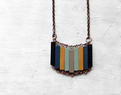 Wood Geometric Necklace // ACCIDENTAL HAPPINESS // Minimal Jewelry //  Mint Toupe Blue Yellow Hand-Painted Necklace // Modern Necklaces