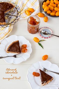 This delicious almond, chocolate, and cumquat tart is adapted from Maggie Beer's Almond and Cumquat Tart with Chocolate Glaze. Chocolate Sweets, Almond Chocolate, Chocolate Lovers, Chocolate Recipes, Chocolate Glaze, Kumquat Recipes, Tart Recipes, Almond Recipes, Easy Desserts