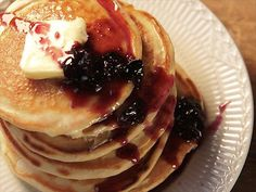 Buttermilk Pancakes with Blueberry Syrup recipe from Nancy Fuller via Food Network