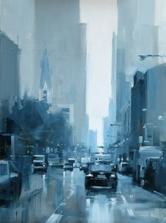 """paisaje urbano Daily Paintworks - """" A Rainy Day in Chicago"""" - Original Fine Art for Sale - Qiang Huang Monochromatic Paintings, Monochrome Painting, Postmodern Art, Cityscape Art, City Painting, Daily Painters, Art Abstrait, Watercolor Artists, City Art"""