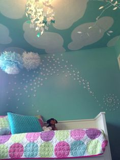 Butterfly Themed Turquoise and White Girls Room.  Super easy and inexpensive to do yourself.