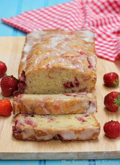 moist cake with fresh strawberries and strawberry … moist strawberry swirl bread; moist cake with fresh strawberries and strawberry jam swirled in; topped with a sweet glaze; the cake is made with oil and yogurt Strawberry Bread Recipes, Strawberry Coffee Cakes, Easy Bread Recipes, Strawberry Desserts, Köstliche Desserts, Baking Recipes, Cake Recipes, Dessert Recipes, Strawberry Banana Bread